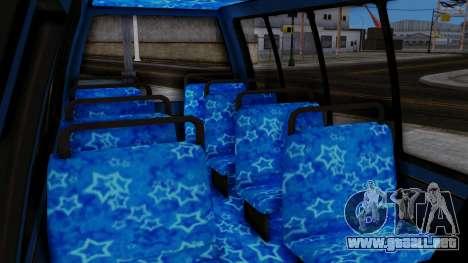 Vinewood VIP Star Tour Bus para GTA San Andreas vista posterior izquierda