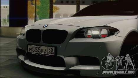 BMW M5 F10 Grey Demon para GTA San Andreas vista posterior izquierda