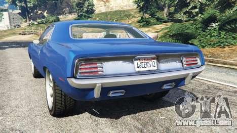 GTA 5 Plymouth Barracuda 1970 vista lateral izquierda trasera