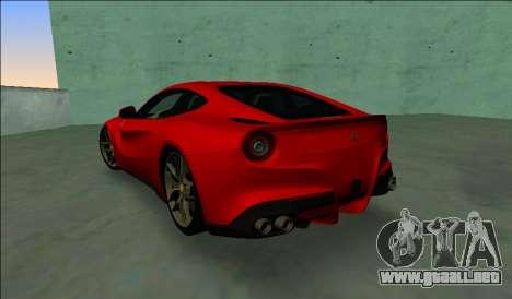 El Ferrari F12 Berlinetta para GTA Vice City vista lateral izquierdo