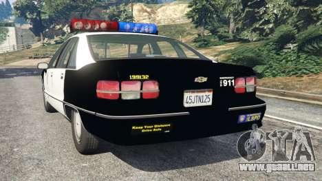 GTA 5 Chevrolet Caprice 1991 LSPD vista lateral izquierda trasera