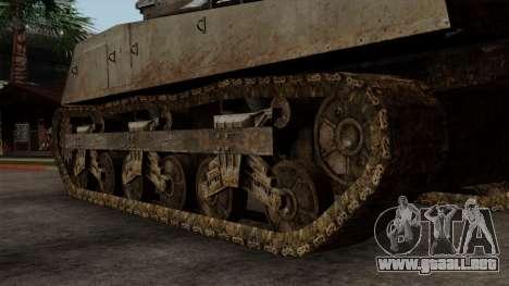 M4 Sherman from CoD World at War para GTA San Andreas vista posterior izquierda