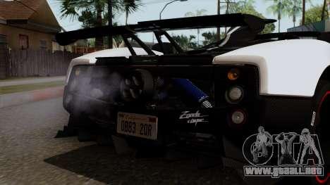 Pagani Zonda Cinque Roadster para visión interna GTA San Andreas