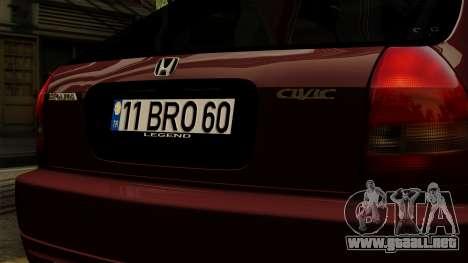 Honda Civic Hatchback B. O. De La Construcción para GTA San Andreas vista hacia atrás