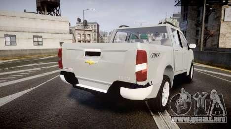 Chevrolet S10 LTZ 2014 v0.1 para GTA 4 Vista posterior izquierda