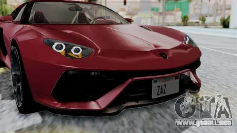 Lamborghini Asterion Concept 2015 v2 para visión interna GTA San Andreas