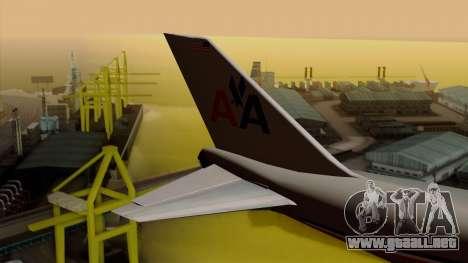 Boeing 747-100 American Airlines para GTA San Andreas vista posterior izquierda