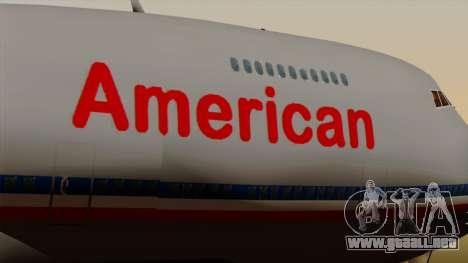 Boeing 747-100 American Airlines para GTA San Andreas vista hacia atrás