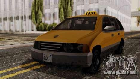 Minivan Cabbie SA Style para la visión correcta GTA San Andreas