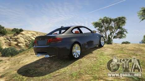 GTA 5 BMW M3 E92 Performance Kit [Beta] 0.1 vista lateral izquierda trasera