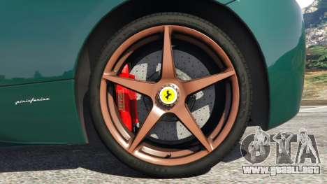 GTA 5 Ferrari 458 Italia 2009 v1.5 vista lateral trasera derecha