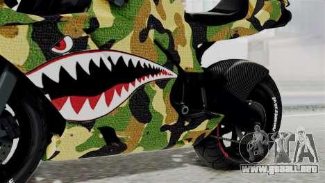 Bati Motorcycle Camo Shark Mouth Edition para la visión correcta GTA San Andreas