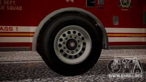 GTA 5 MTL Firetruck IVF para GTA San Andreas vista posterior izquierda