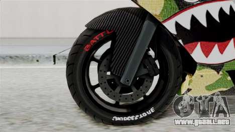 Bati Motorcycle Camo Shark Mouth Edition para GTA San Andreas vista posterior izquierda