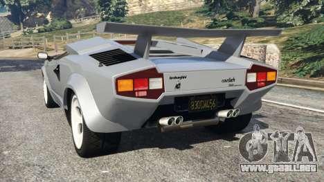 GTA 5 Lamborghini Countach LP500 QV 1988 v1.2 vista lateral izquierda trasera