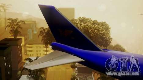 Boeing 747-200 Trans GTA Air para GTA San Andreas vista posterior izquierda