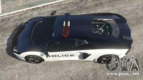 GTA 5 Lamborghini Aventador LP700-4 Police v4.5 vista trasera