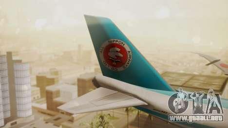 Boeing 747-100 All Nippon Airways para GTA San Andreas vista posterior izquierda