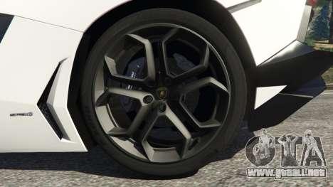 GTA 5 Lamborghini Aventador LP700-4 Police v4.0 vista lateral trasera derecha