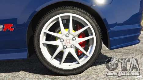 GTA 5 Honda Integra Type-R with license plate vista lateral trasera derecha