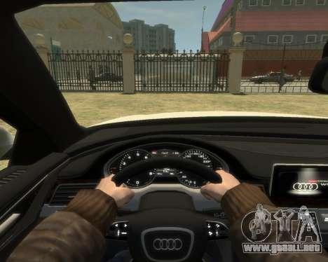 Audi A8L W12 2013 para GTA 4 vista hacia atrás