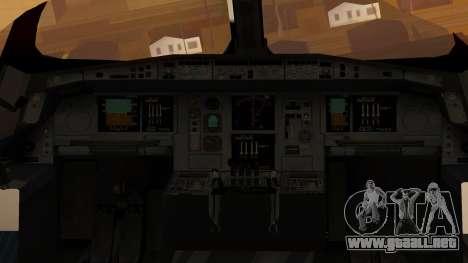 Airbus 350-900XWB Around The World para GTA San Andreas vista hacia atrás