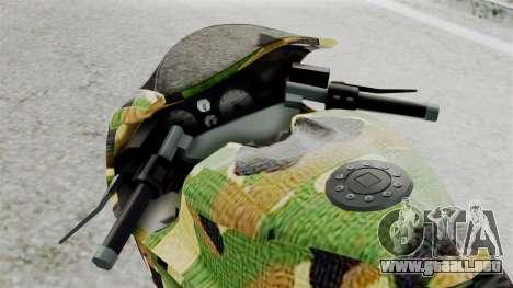Bati Motorcycle Camo Shark Mouth Edition para GTA San Andreas vista hacia atrás
