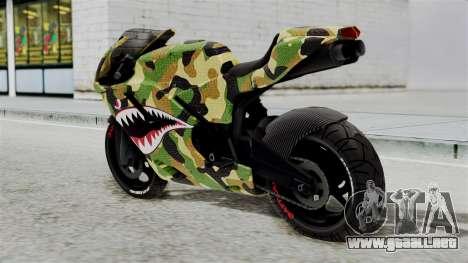 Bati Motorcycle Camo Shark Mouth Edition para GTA San Andreas left