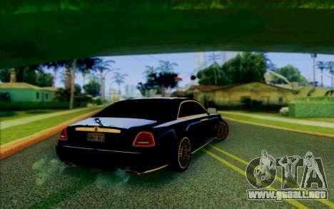 Rolls-Royce Ghost Mansory para GTA San Andreas vista posterior izquierda
