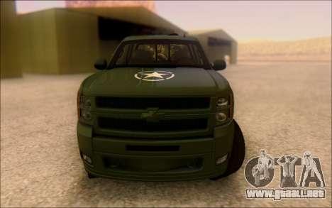 Chevrolet Silverado 2500 Best Edition para GTA San Andreas vista hacia atrás