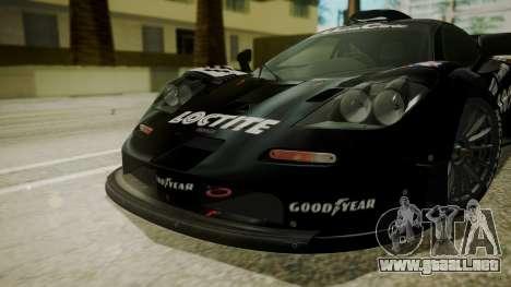 McLaren F1 GTR 1998 Loctite para GTA San Andreas vista hacia atrás