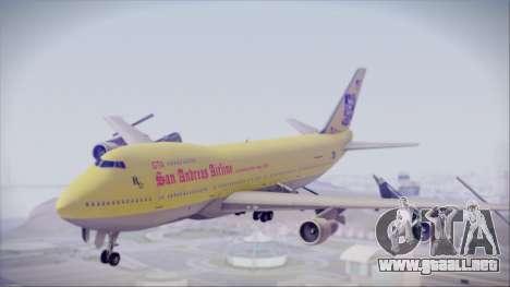 Boeing 747-200 GTA SA Airline para GTA San Andreas vista posterior izquierda