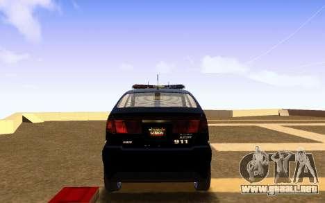 Karin Dilettante Police Car para GTA San Andreas vista posterior izquierda