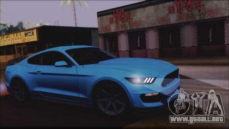 Ford Mustang Shelby GT350R 2016 No Stripe para GTA San Andreas vista hacia atrás