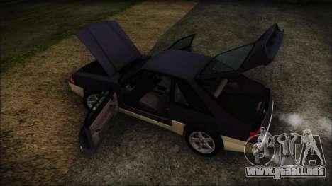 Ford Mustang Hatchback 1991 v1.2 para GTA San Andreas vista hacia atrás