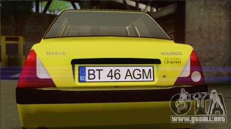 Dacia Solenza Taxi para GTA San Andreas vista hacia atrás