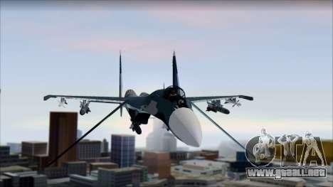 SU-35 Russian Air Force Modern Livery para GTA San Andreas vista posterior izquierda