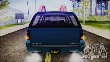 GTA 5 Declasse Granger FIB SUV IVF para GTA San Andreas vista hacia atrás