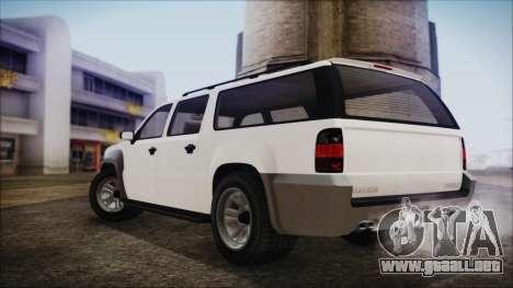 GTA 5 Declasse Granger Civilian IVF para GTA San Andreas vista posterior izquierda