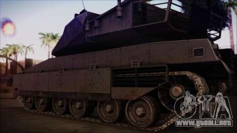 M2A1 Slammer Tank para GTA San Andreas vista posterior izquierda
