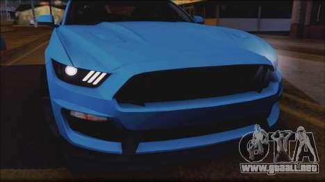 Ford Mustang Shelby GT350R 2016 No Stripe para visión interna GTA San Andreas