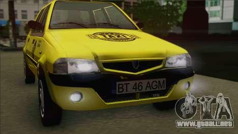 Dacia Solenza Taxi para la visión correcta GTA San Andreas