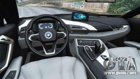 GTA 5 BMW i8 2015 vista lateral trasera derecha