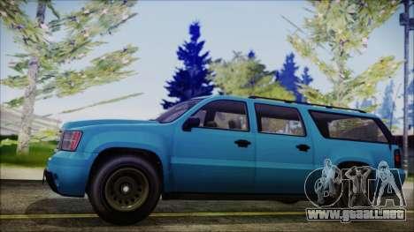 GTA 5 Declasse Granger FIB SUV IVF para GTA San Andreas vista posterior izquierda