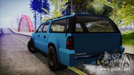 GTA 5 Declasse Granger FIB SUV IVF para GTA San Andreas left