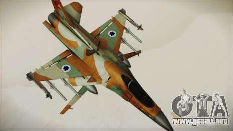 F-16C Block 25 Israeli Air Force para GTA San Andreas vista posterior izquierda