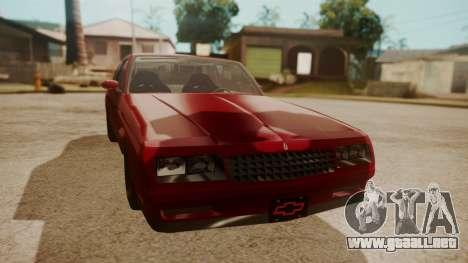 Chevrolet Monte Carlo SS 1986 para la visión correcta GTA San Andreas