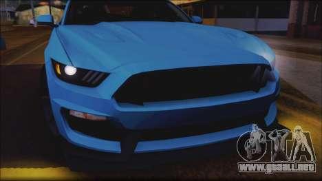 Ford Mustang Shelby GT350R 2016 No Stripe para vista lateral GTA San Andreas