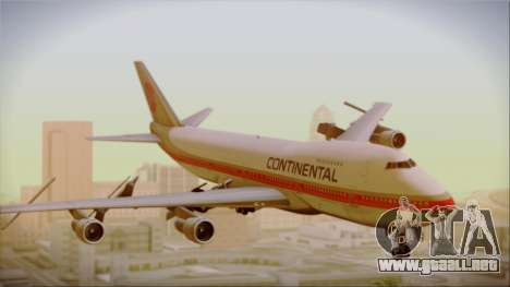 Boeing 747-200 Continental Airlines Red Meatball para GTA San Andreas vista posterior izquierda
