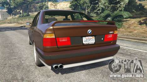 GTA 5 BMW M5 (E34) 1991 v2.0 vista lateral izquierda trasera